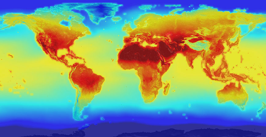 a thermal map of the world
