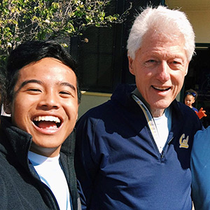 Student Haithi Dang and former President Bill Clinton at the CGI U event.